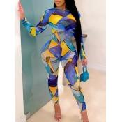 lovely Stylish O Neck Grid Print Skinny Multicolor One-piece Jumpsuit