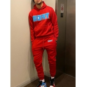 Lovely Casual Hooded Collar Letter Print Red Men Two-piece Pants Set