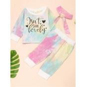 Lovely Casual O Neck Tie-dye Print Baby Blue Girl