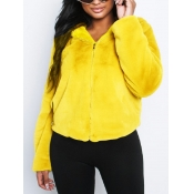 lovely Casual Hooded Collar Zipper Design Yellow F