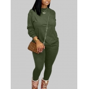 Lovely Casual O Neck Basic Blackish Green Plus Size Two-piece Pants Set