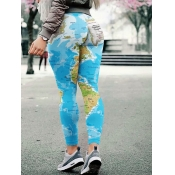 lovely Casual Print Skinny Baby Blue Leggings