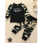 lovely Casual O Neck Camo Print Patchwork Army GreenBoy Two-piece Pants Se