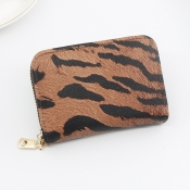 Lovely Trendy Print Brown Coin Purses