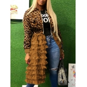 lovely Trendy Leopard Print Patchwork Long Coat