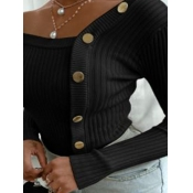 lovely Trendy Buttons Design Black Plus Size Sweat