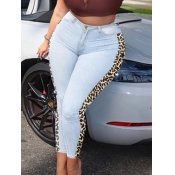 lovely Casual Leopard Print Patchwork Baby Blue Je