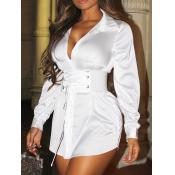 Lovely Trendy Turndown Collar Bandage Design White Mini Dress