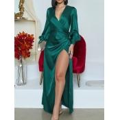 lovely Stylish Deep V Neck Side High Slit Green Ma