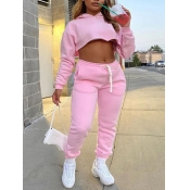 Lovely Casual Hooded Collar Crop Top Pink Two Piece Pants Set