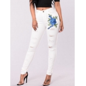 lovely Stylish Print Hollow-out Skinny White Jeans