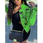 lovely Stylish Turndown Collar Letter Print Green