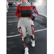 Lovely Casual Half A Turtleneck Print Patchwork Red Two Piece Pants Set