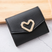 lovely Casual Heart Black Coin Purses