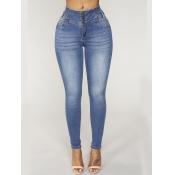 lovely Street Buttons Design Skinny Blue Jeans