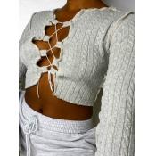 lovely Street Bandage Design Grey Sweater
