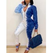 lovely Stylish Zipper Design Tie-dye Blue One-piece Jumpsuit
