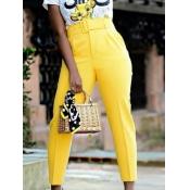 lovely Stylish High-waisted Basic Yellow Pants