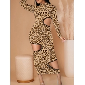 Lovely Trendy Turtleneck Leopard Print Hollow-out