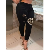lovely Casual Patchwork Broken Holes Black Plus Si