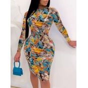 Lovely Trendy O Neck Print Skinny Skyblue Knee Length Dress