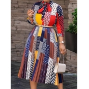Lovely Fashion Print Loose Multicolor Mid Calf Dress