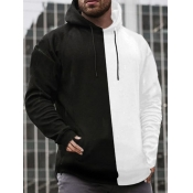Lovely Casual Hooded Collar Patchwork Black Men Hoodie
