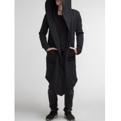 lovely Street Hooded Collar Loose Black Trench Coat