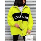 lovely Street Turndown Collar Letter Print Patchwork Light Green Coat