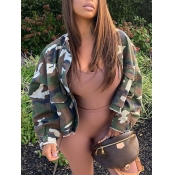 lovely Casual Camo Print Loose Coat