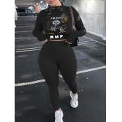 Lovely Sportswear Turtleneck Print Skinny Black Two Piece Pants Set