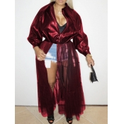 lovely Casual Turndown Collar Patchwork Wine Red P