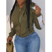 lovely Sportswear Hooded Collar Patchwork Zipper Design Army Green Coat