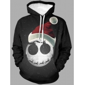 lovely Leisure Hooded Collar Print Black Men Hoodie