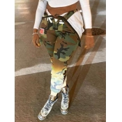 Lovely Casual Camo Print Army Green Pants