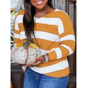 lovely Trendy V Neck Striped Yellow Sweater