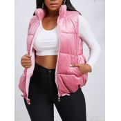 lovely Trendy Zipper Design Pink Waistcoat