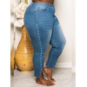 lovely Leisure Broken Holes Blue Plus Size Jeans
