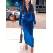 Lovely Casual Mandarin Collar Zipper Design Blue Ankle Length Dress
