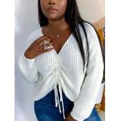 lovely Street V Neck Fold Design White Sweater