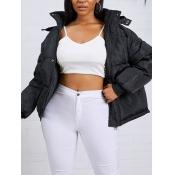 lovely Stylish Hooded Collar Zipper Design Black P