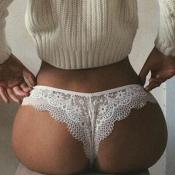 Lovely Sexy Lace See-through White Panties