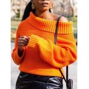 lovely Trendy Loose Orange Sweater