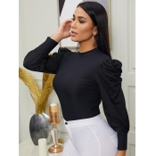 lovely Trendy O Neck Patchwork Black Sweater