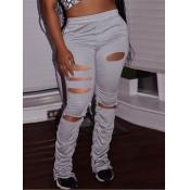 lovely Stylish Hollow-out Fold Design Grey Pants