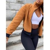 lovely Trendy Zipper Design Khaki Faux Fur