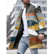 Lovely Casual Mandarin Collar Print Multicolor Men