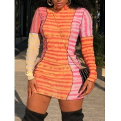 lovely Trendy Turtleneck Striped Print Patchwork R