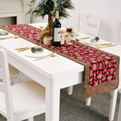 lovely Christmas Day Print Red Table Linens