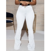 lovely Casual Basic White Jeans